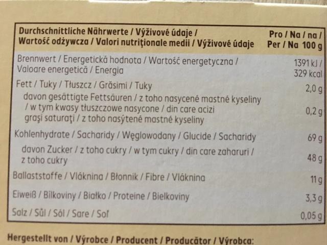 Fruchtriegel Nährwerttabelle