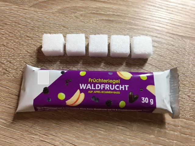1 Fruchtriegel - 5 Zuckerwürfel